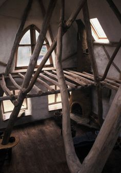 """Round wood timber framing Makes me think of """"Tangled"""""""