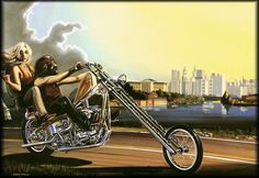 Riding in America in the early 70's - art by David Mann