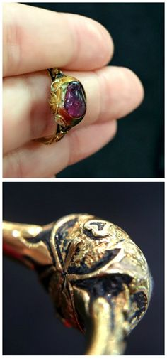 A rare Renaissance era ring from the year 1590. Ruby in gold with white and black enamel. From Roy Rover antiques.