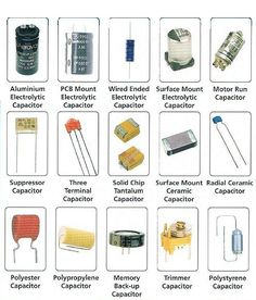 Electrical Engineering Books: Different Types of Capacitors Electronics Projects, Electronics Components, Electronics Gadgets, Electrical Components, Electrical Wiring, Electrical Engineering Books, Electronic Engineering, Power Engineering, Chemical Engineering