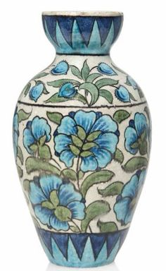 Ceramic vase by William de Morgan (1839–1917). Painted with stylised flowers and foliage and interlocking triangular motif borders