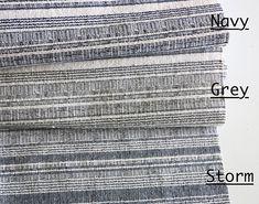 Hemp Hmong Fabric by the yard  / home decor fabric / drapery fabric / Blue or Grey Striped upholstery fabric