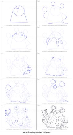 How to Draw Garbodor from Pokemon printable step by step drawing sheet : DrawingTutorials101.com