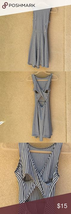 Hollister Striped Sundress Gray and white striped sundress with cross back detail. Comfortable stretch Worn only once. Size S. Hollister Dresses Mini