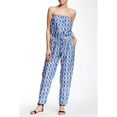 Velvet By Graham & Spencer Strapless Printed Jumpsuit ($80) ❤ liked on Polyvore featuring jumpsuits, blue, strapless jumpsuit, white jumpsuit, white cotton jumpsuit, white strapless jumpsuit and blue jump suit