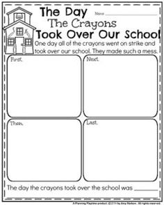 Narrative Writing Prompts for August - The Day Crayons took over our School.