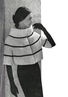 1960s High Collar Hip Length Coat or Jacket   Knit door eStitches, $3.75