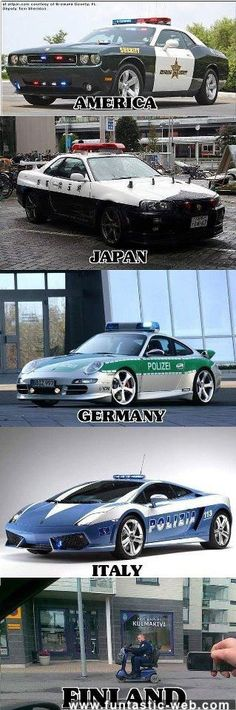 Police cars in different countries. Finland is the place to be