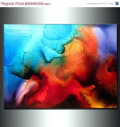 Abstract Art, Huge Abstract Painting, Original Abstract painting, Contemporary Modern Fine Art, Colorful Canvas Art, by Henry Parsinia 48x3 on Etsy, $1,500.00