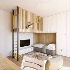 cozy bunk bed design for small rooms or apartment and dorm room Modern Bunk Beds, Cool Bunk Beds, Kids Bunk Beds, Loft Beds, Modern Loft, Sharing Bed, Kids Bedroom, Bedroom Decor, Bedroom Ideas
