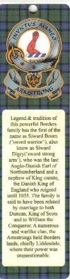 ARMSTRONG Clan Badge Clan ARMSTRONG Tartan Bookmark