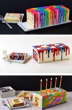 Farverig kage