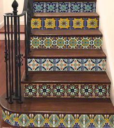 Stair Riser Vinyl Strips Removable Sticker Peel & Stick : Spanish Mexican by SnazzyDecal on Etsy Tile Decals, Wall Tiles, Vinyl Decals, Tile Stairs, Basement Stairs, Table Cafe, Tuile, Stair Risers, Stick On Tiles