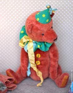 Mr. Pumpkin - рыжий,оранжевый,мишка,мишка тедди,винтажный мишка,клоун