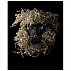 SHEEP'S HEAD BROOCH Oriental pearls, cabachon star sapphires, blackened silver, and gold.