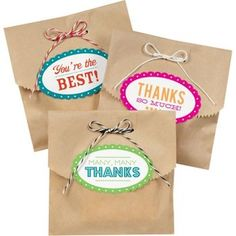 Kraft Bags for favors or hostess gift with printed labels from Paper Source