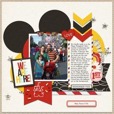 """Disney """"We are Here"""" scrapbooking page by gwany1999 featuring Project Mouse by Sahlin Studio and Britt-ish Designs"""