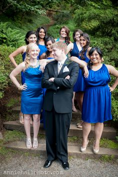 Super cute shot of the groom with the bridesmaids