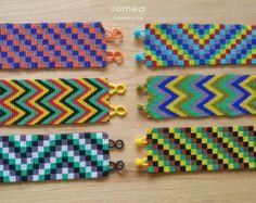 Mexican Bracelets - Geometric Pattern - Multicolor - Unisex - Huichol Art - Romea Accessories - Jewelry - Beads