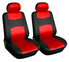 2 Car Seat Covers PU Leather Compatible to Honda  859 Black//Red