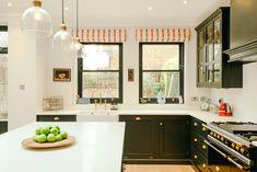 Christopher Farr fabric on blinds. Rowen and Wren lights. Devol Kitchens, Wren, Pantry, Blinds, Kitchen Cabinets, Lights, Interior Design, Fabric, Blue