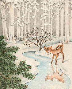 Vintage Christmas card (vintage deer in snow covered woods)