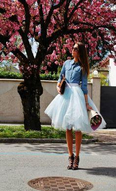 Katrin Kafta Ice Blue Midi Full Tulle Skirt