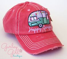 f9058d92acb Women s Distressed Baseball cap for the Happy Camper. Make a great summer beach  hat for