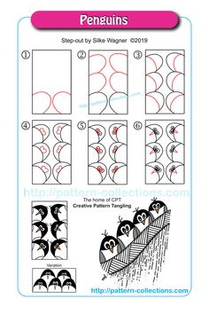 Penguins by Silke Wagner Doodle Zen, Zen Doodle Patterns, Tangle Doodle, Tangle Art, Zentangle Patterns, Easy Zentangle, Zentangle Drawings, Doodles Zentangles, Doodle Drawings