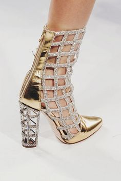 Balmain Metallic gold and crystal cut-out Boots Spring 2014 RTW