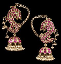 South India | Pair of ruby, emerald and diamond set ear ornaments, with seed pearl tassels | Late 19th century | 4,375£ ~ Sold (Oct/13)