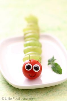 Grape and cherry tomato caterpillar. fun food ideas for kids. fruit and veggie fun.
