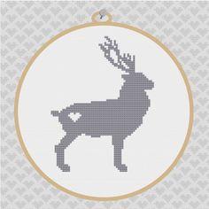 Deer Silhouette Cross Stitch PDF Pattern II