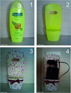 DIY: Turn an empty shampoo bottle into a cell phone holder while charging. Fun Crafts, Diy And Crafts, Craft Projects, Projects To Try, Support Telephone, Shampoo Bottles, Plastic Bottle Crafts, Empty Plastic Bottles, Cell Phone Holder