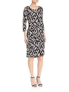 Kay Unger Printed Jersey Dress - Black Color - Size
