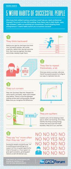 5 extraños hábitos de las personas de éxito #infografia #infographic