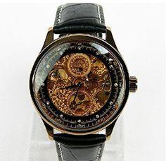 Mens Watches Steampunk Mechanical Watch Skeleton Luxury Man Leather Wrist Watch