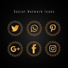 Golden social media icons set Free Vector Food Logo Design, App Icon Design, Design Design, Graphic Design, Web Banner Design, Social Network Icons, We Do Logos, Green Screen Video Backgrounds, Virtual Card