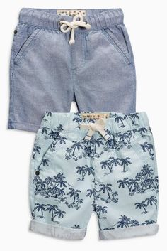 Buy Blue Palm Print Shorts Two Pack (3mths-6yrs) online today at Next: Hungary