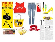 """Yellow And Red"" by citrussaoirse ❤ liked on Polyvore featuring Gianmarco Lorenzi, River Island, Marc Tetro, Casetify and Maybelline"
