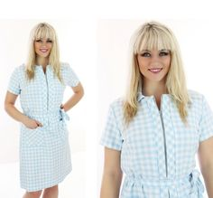 60s Gingham Dress MOD Blue White Plaid by neonthreadsdesigns, $37.00