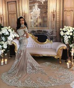 Silver Luxury Lace Long-Sleeve Mermaid High-Neck Wedding Dresses BA6703_High Quality Wedding Dresses, Prom Dresses, Evening Dresses, Bridesmaid Dresses, Homecoming Dress - 27DRESS.COM