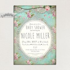 Rustic shabby chic baby shower invitations diy printable baby shabby chic baby shower invitation printed digital invite or printed cards turquoise pink purple ivory vintage lace tea party by on etsy filmwisefo