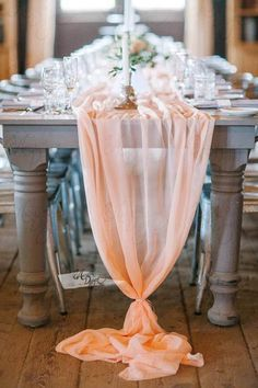 Blush Peach Chiffon Table Runner. #ArcadiaDesigns #TableRunner
