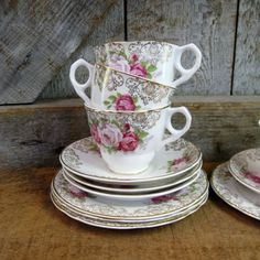 Vintage+Floral+China+Tea+Set.+For+Four.+by+Addy+on+Etsy