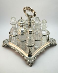 c1838 ANTIQUE 19thC VICTORIAN OLD SHEFFIELD SILVER PLATE & GLASS 8 BOTTLE CRUET