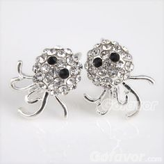 $4.99 Lovely Silver Tone Octopus Rhinestone Leverback Earrings at Online Cheap Fashion Jewelry Store Gofavor
