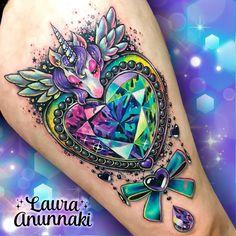 Kawaii Style Ornamental Unicorn and Heart Tattoo by Laura Annukai