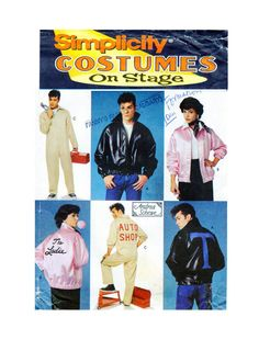 GREASE Costumes Simplicity 8745 ADULT Halloween Sewing Pattern Bomber Jackets, Mechanic Overalls  Broadway Musical Size Adult XS-S-M UnCUT by FindCraftyPatterns on Etsy