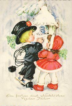 Neujahr - Schornsteinfeger und Mädchen, 1969 | eBay